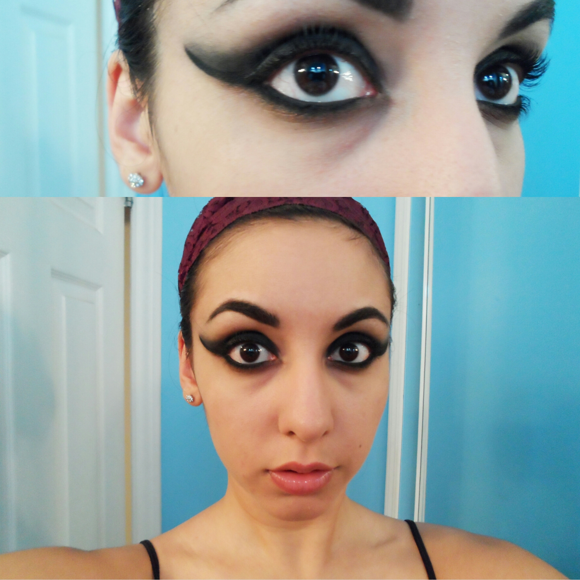 Cat face for halloween the girl with bangs for Skone tattooed eyeliner