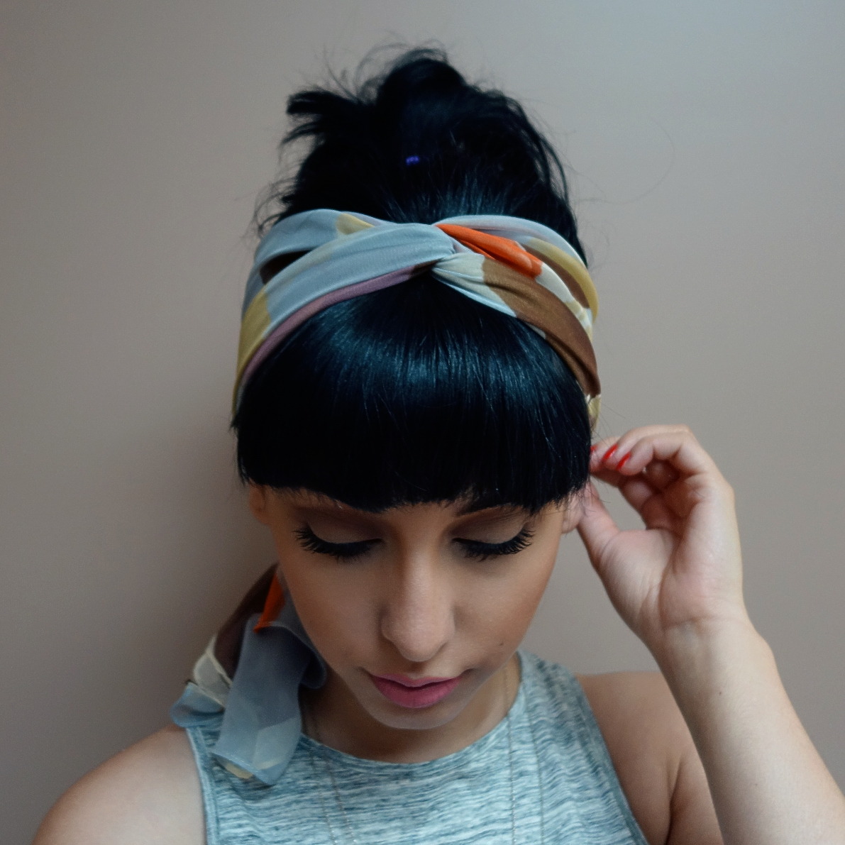 3 Ways To Wear A Scarf As A Headband The Girl With Bangs