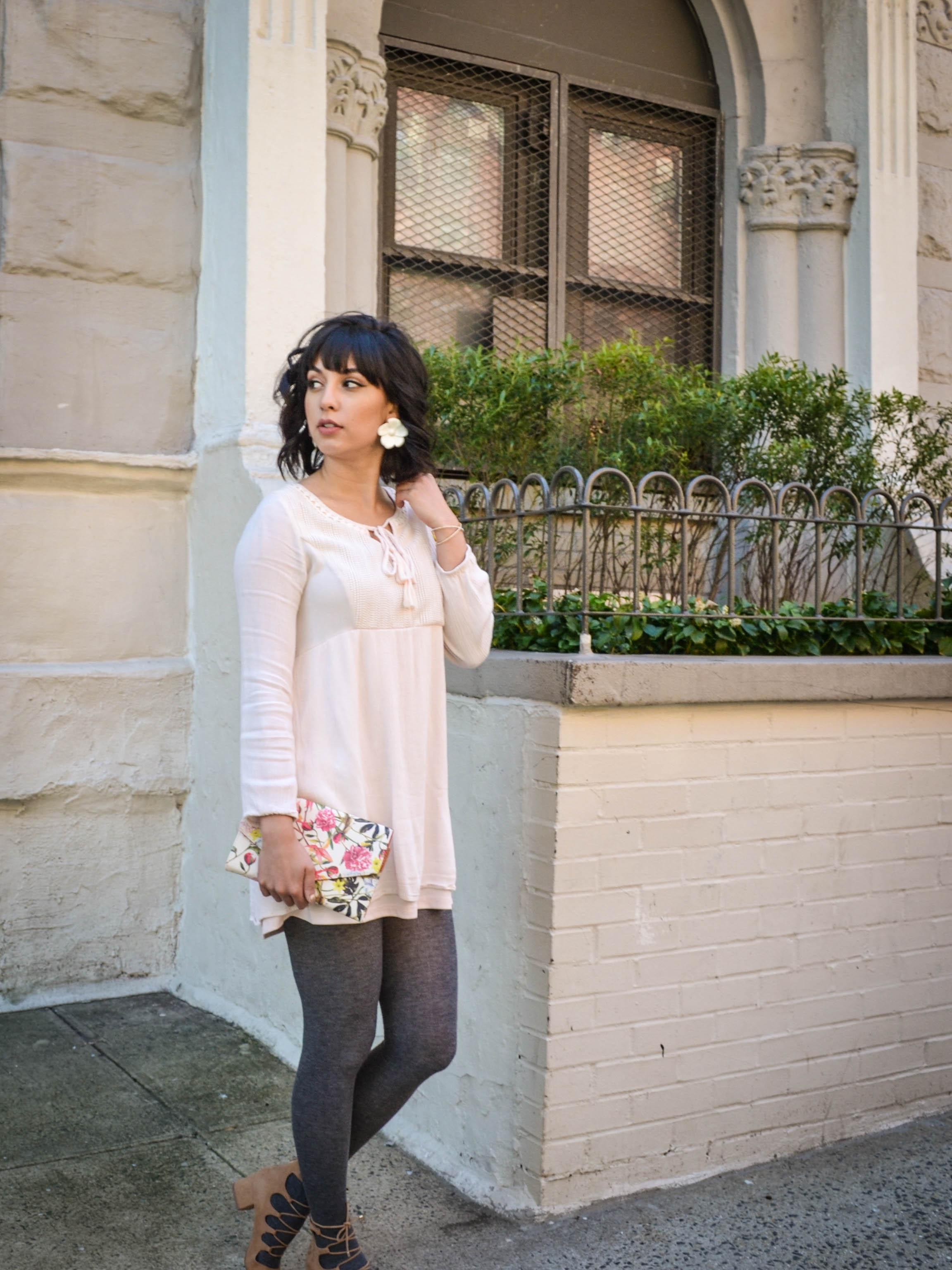 blush dress outfit